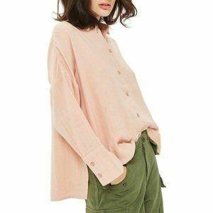 TopShop Oversized Peach Crinkle Shirt - 12 - NWT